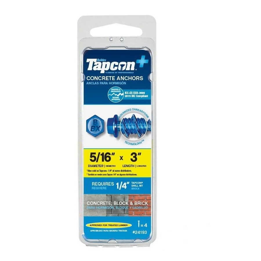 Tapcon 4-Pack 3-in x 0.31-in Blue Steel Heavy-Duty All-Purpose Anchors with Screws