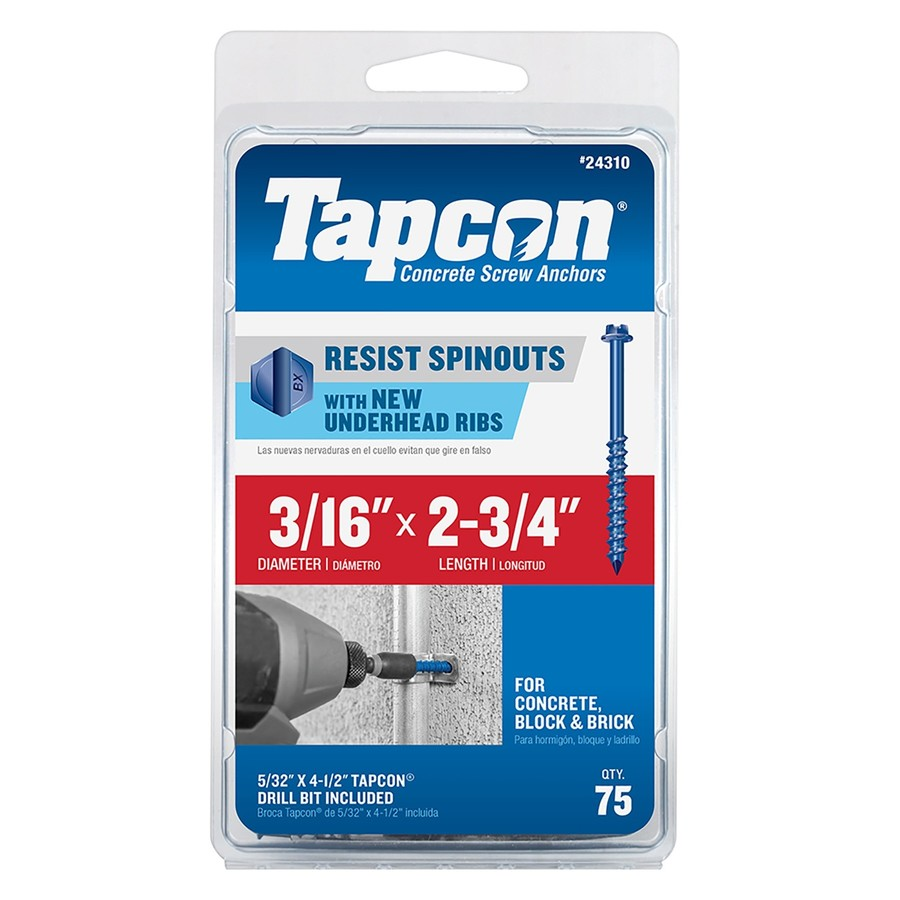 Shop Tapcon 75 Count 3 16 In X 2 75 In Blue Steel Self