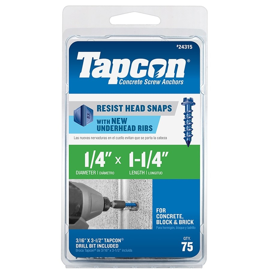 Tapcon 75-Count 1/4-in x 1.25-in Blue Steel Self-Tapping Concrete Screws