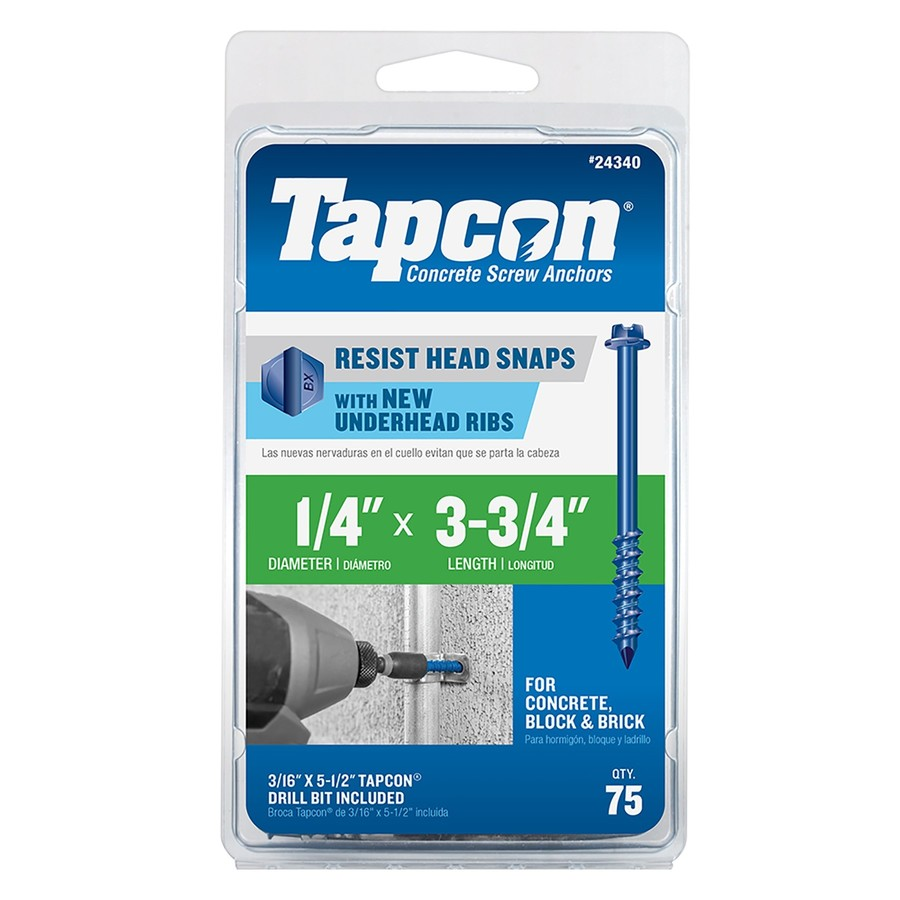 Tapcon 75-Count 1/4-in x 3.75-in Blue Steel Self-Tapping Concrete Screws