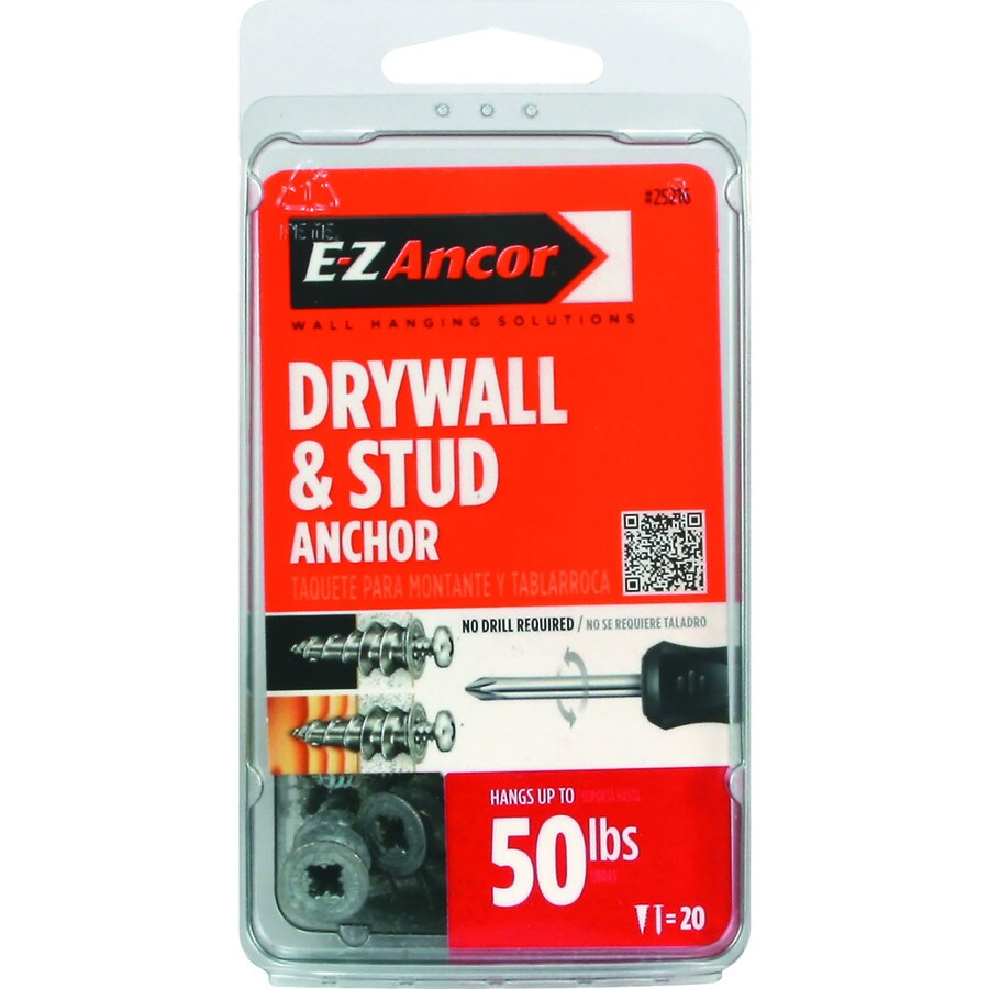 E-Z Ancor 20-Pack 1.25-in x 0.5-in Self-Drilling Zinc Alloy Zinc Light-Duty Standard Drywall Anchors with Screws