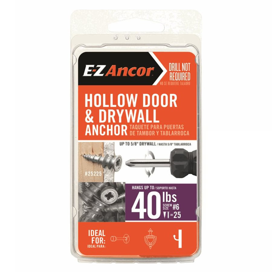 E-Z Ancor 25-Pack 1-in x 0.375-in Self-Drilling Zinc Alloy Zinc Light-Duty Standard Drywall Anchors with Screws