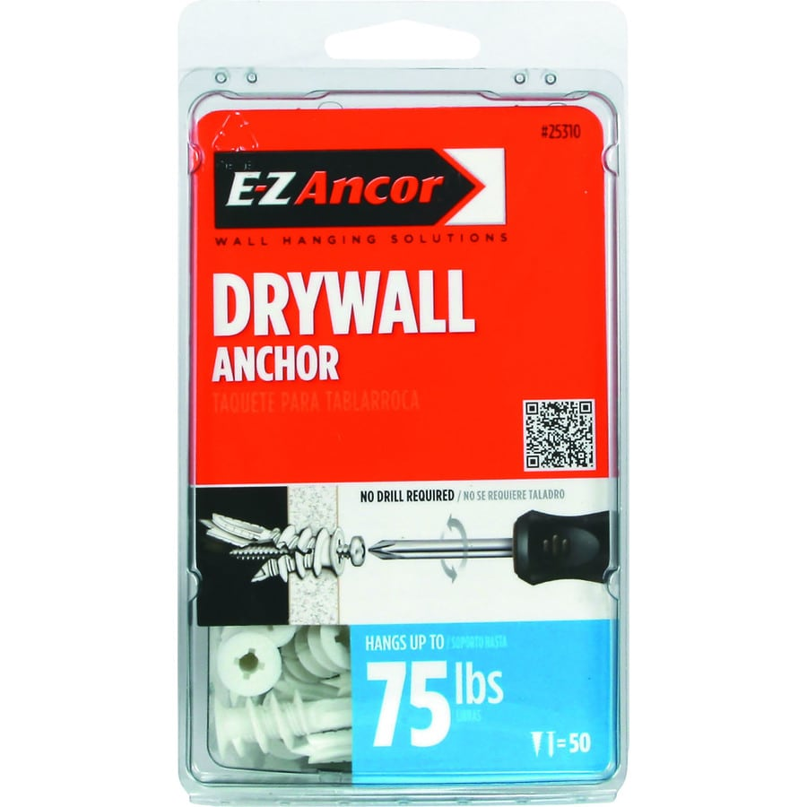 E-Z Ancor 50-Pack 1.625-in x 0.5-in Self-Drilling White Plastic Nylon Medium-Duty Standard Drywall Anchors with Screws