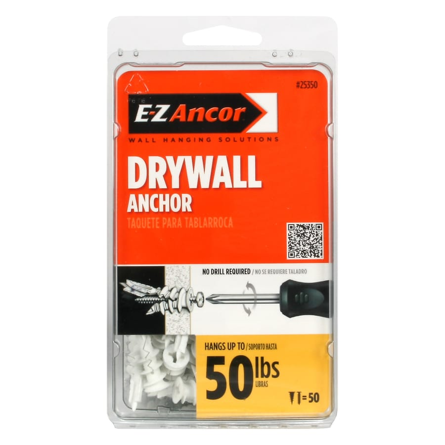 E-Z Ancor 50-Pack 1.25-in x 0.375-in Self-Drilling White Plastic Nylon Light-Duty Standard Drywall Anchors with Screws