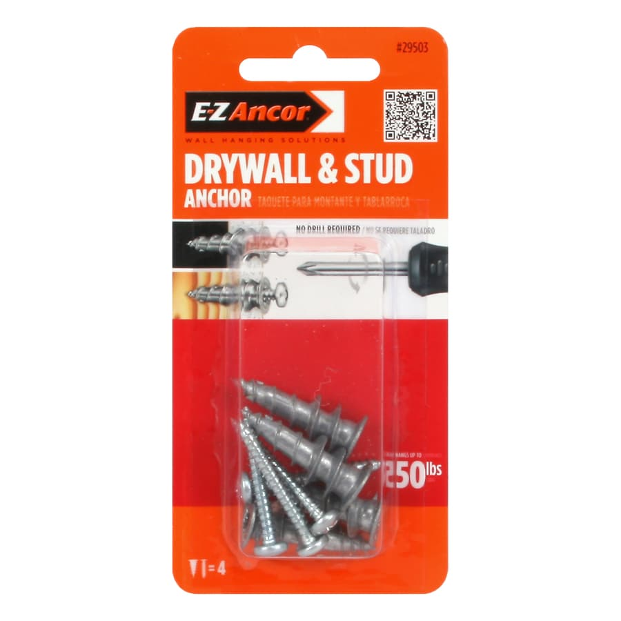 E-Z Ancor 4-Pack 1.25-in x 0.5-in Self-Drilling White Plastic Zinc Light-Duty Standard Drywall Anchors with Screws