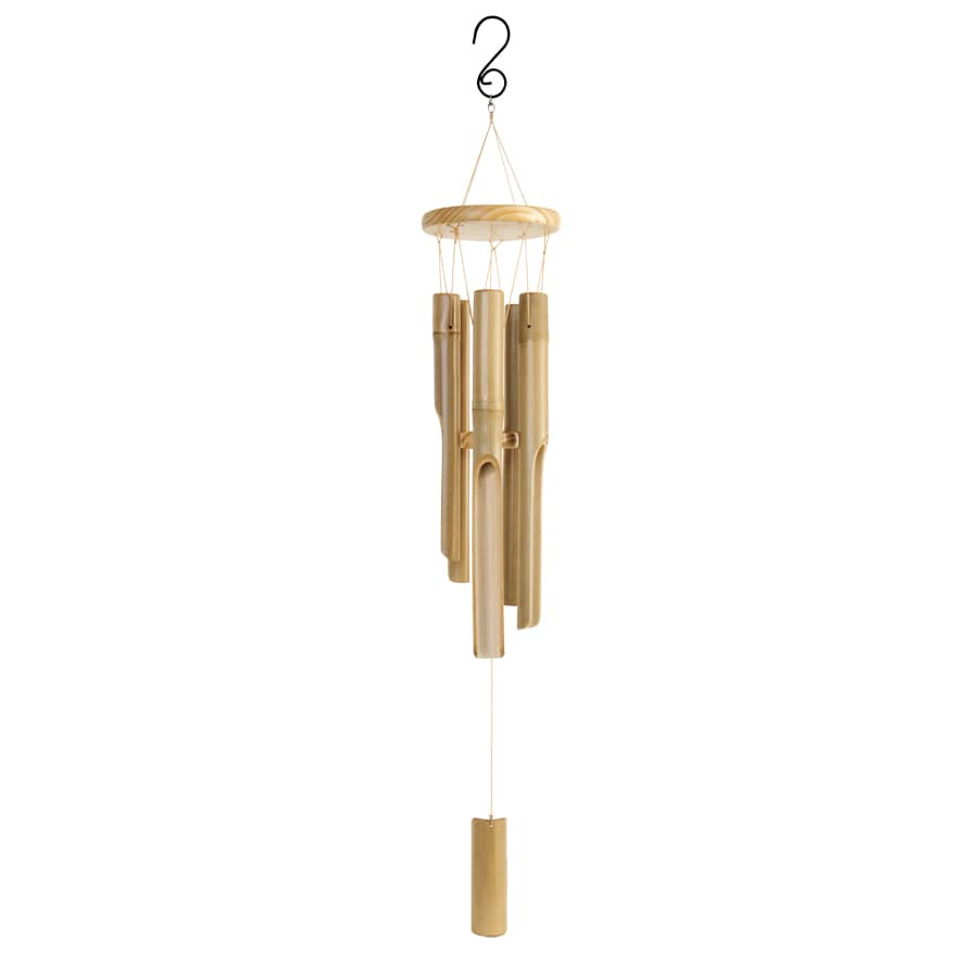 Garden Treasures 32.5-in Bamboo Natural Wind Chime