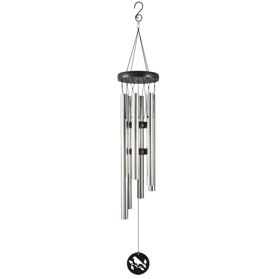 Garden Treasures 39-in Black and Silver Metal Modern Wind Chime
