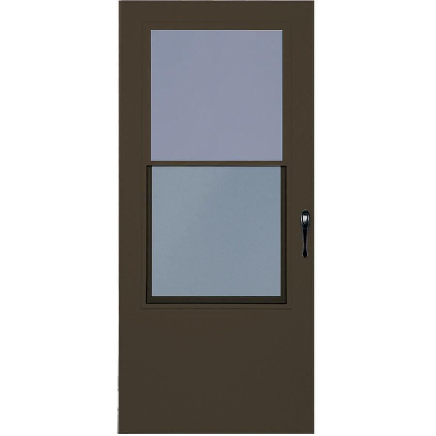 LARSON Bismarck Brown Mid-View Tempered Glass Wood Core Standard Half Screen Storm Door (Common: 36-in x 81-in; Actual: 35.75-in x 79.875-in)
