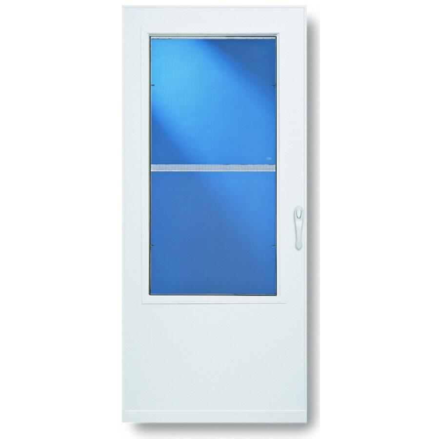 Comfort-Bilt Highland White Mid-View Tempered Glass Standard Half Screen Storm Door (Common: 36-in x 81-in; Actual: 35.75-in x 79.875-in)