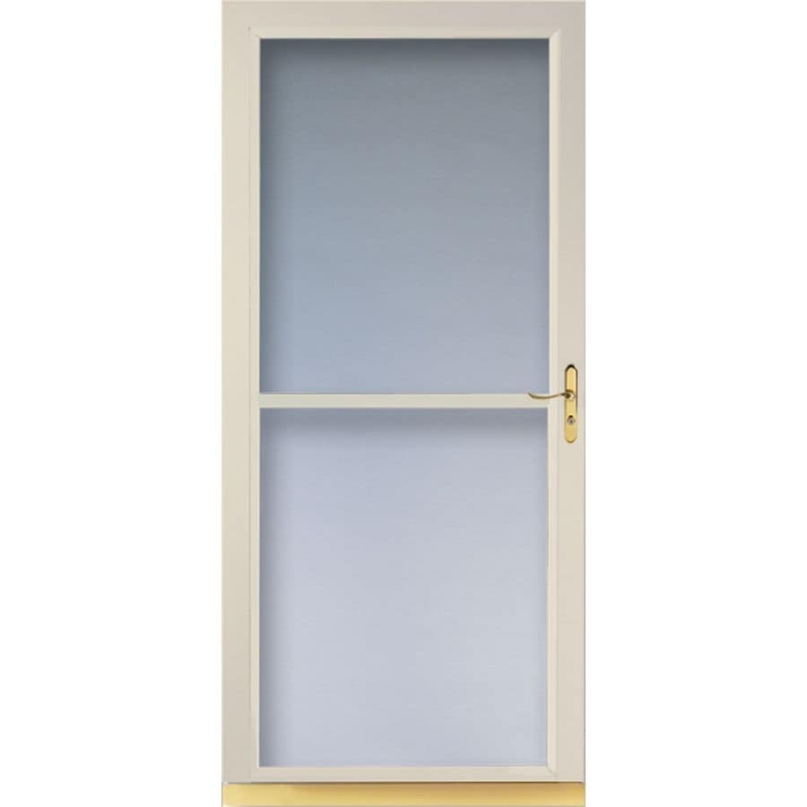 Shop larson tradewinds almond full view tempered glass for Best storm door with retractable screen