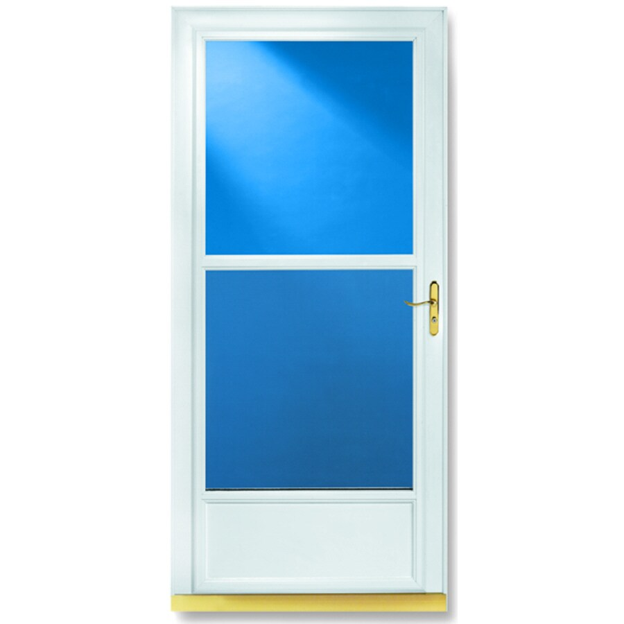 LARSON Tradewinds White Mid-View Tempered Glass Aluminum Retractable Screen Storm Door (Common: 32-in x 81-in; Actual: 31.75-in x 79.75-in)