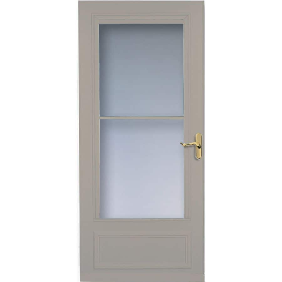 LARSON Savannah Sandstone Mid-View Tempered Glass Wood Core Retractable Screen Storm Door (Common: 36-in x 81-in; Actual: 35.75-in x 79.875-in)