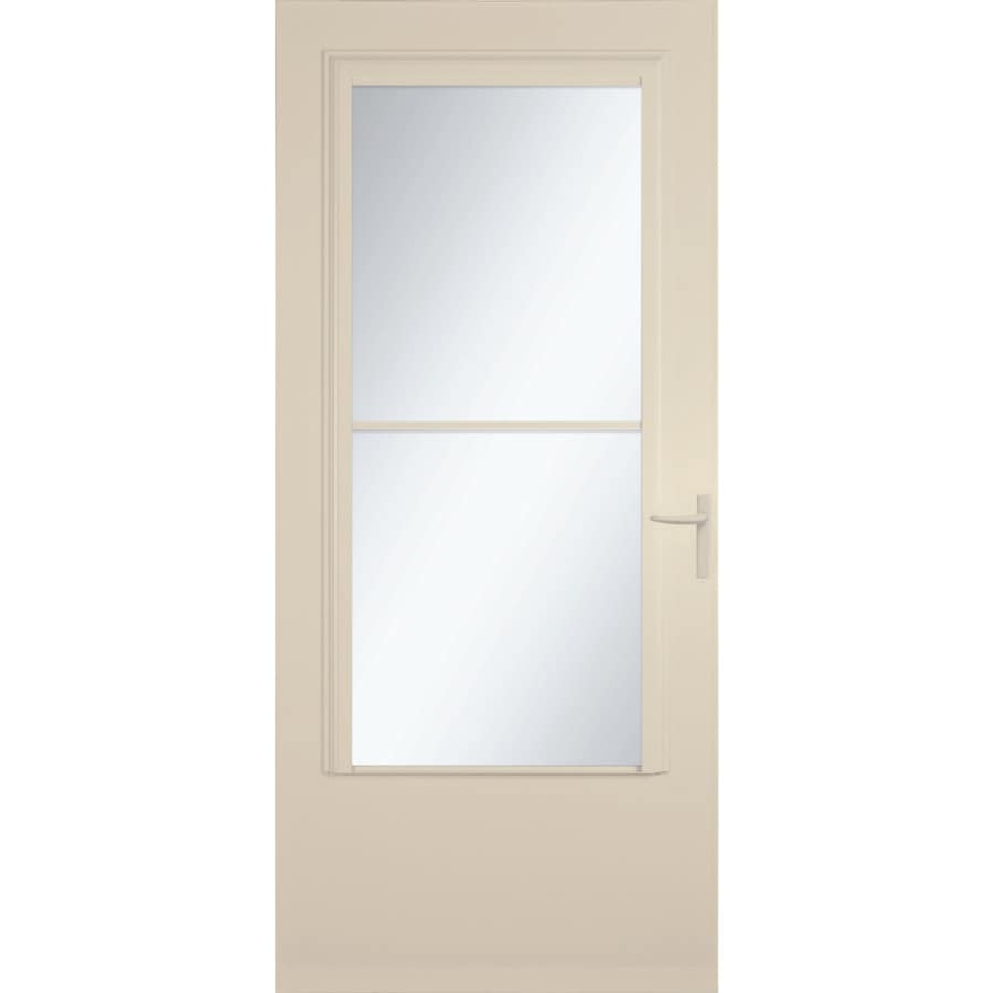 LARSON Concord Almond Mid-View Tempered Glass Wood Core Retractable Screen Storm Door (Common: 36-in x 81-in; Actual: 35.75-in x 79.875-in)