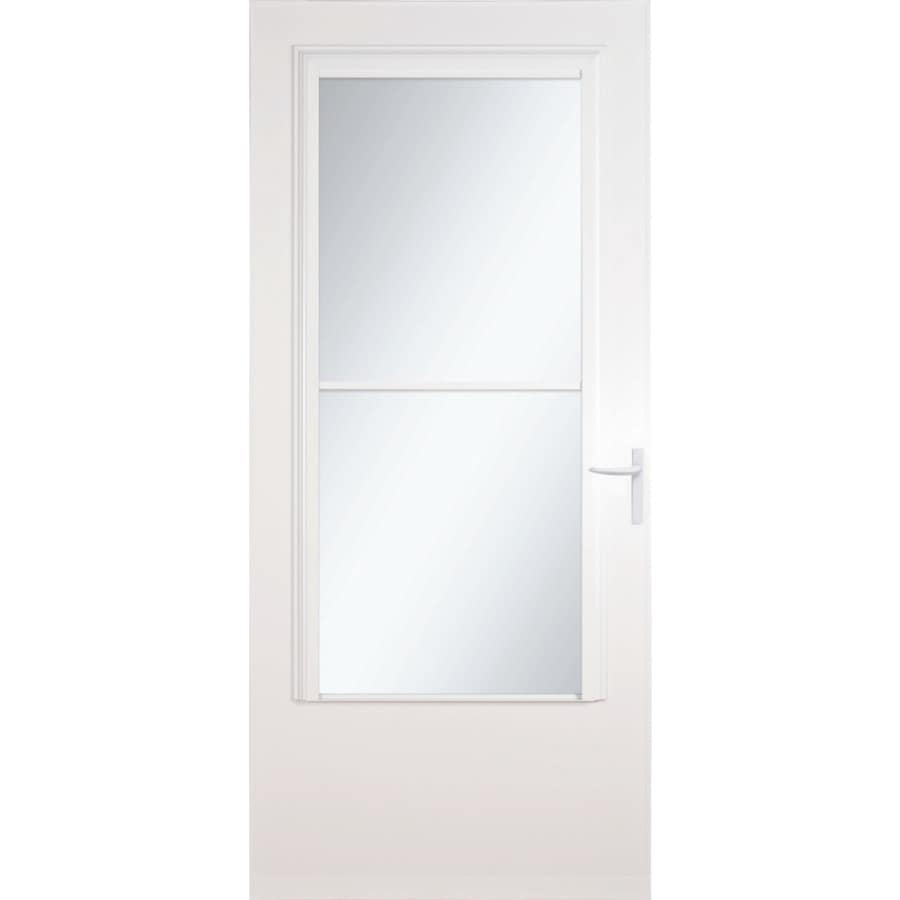 Shop larson concord white mid view tempered glass wood for Retractable glass doors