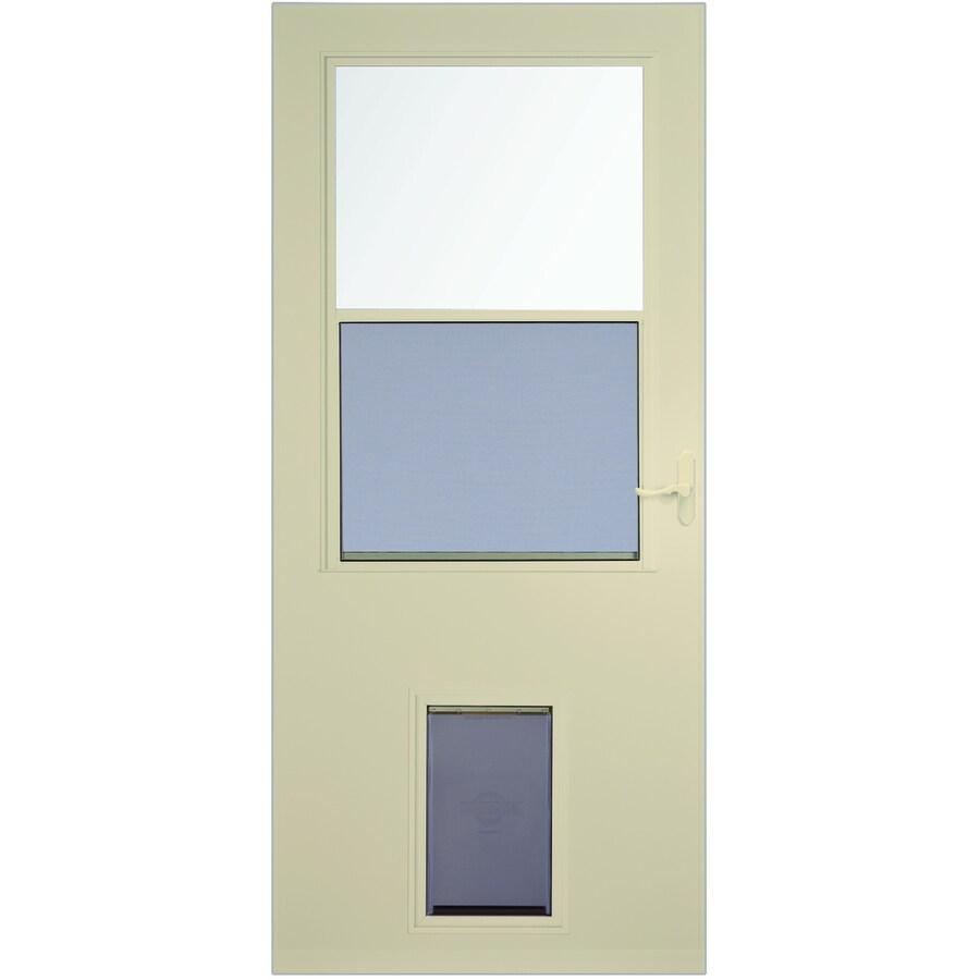 Comfort Bilt Pet Door 36 In X 81 In Almond High View Wood Core Storm Door In The Storm Doors Department At Lowes Com