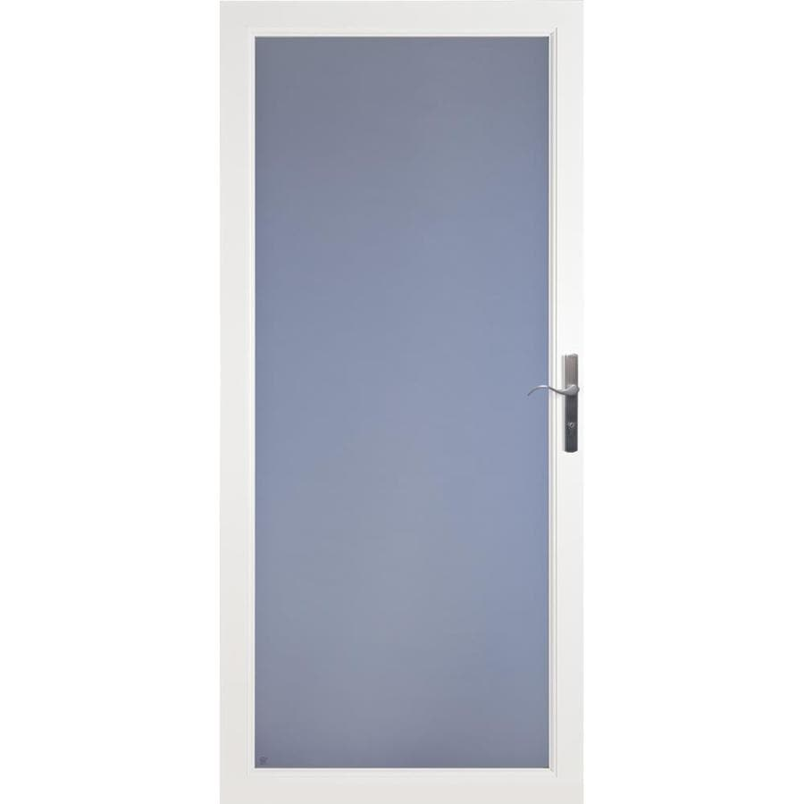 LARSON Secure Elegance White Full-View Laminated Security Glass Aluminum Storm Door (Common: 32-in x 81-in; Actual: 31.75-in x 79.75-in)