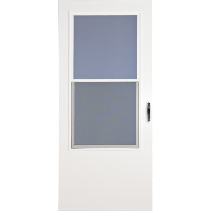 LARSON Bismarck White Mid-View Tempered Glass Wood Core Standard Half Screen Storm Door (Common: 32-in x 81-in; Actual: 31.75-in x 79.875-in)