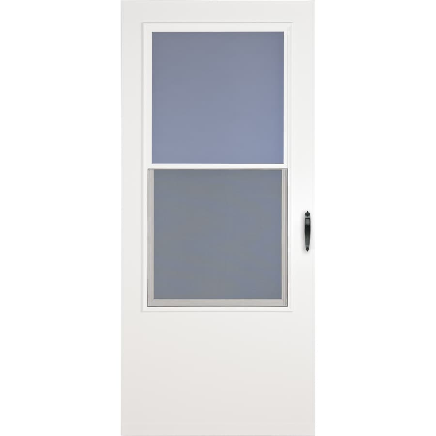 LARSON Bismarck White Mid-View Tempered Glass Wood Core Standard Half Screen Storm Door (Common: 36-in x 81-in; Actual: 35.75-in x 79.875-in)