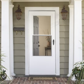 Shop Larson White Mid View Wood Core Storm Door With Self