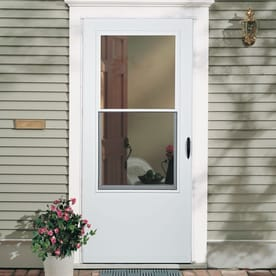 Shop Larson Bismarck White Mid View Wood Core Storm Door