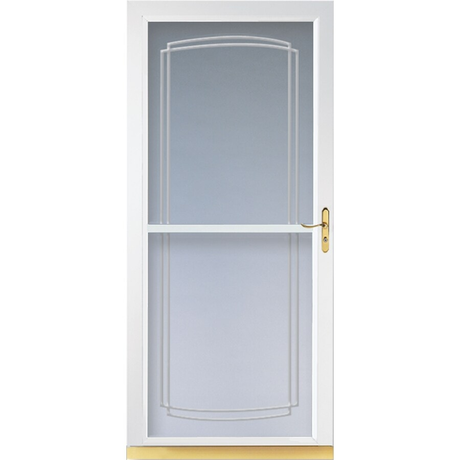 LARSON Tradewinds White Full-View Tempered Glass Aluminum Retractable Screen Storm Door (Common: 36-in x 81-in; Actual: 35.75-in x 79.75-in)