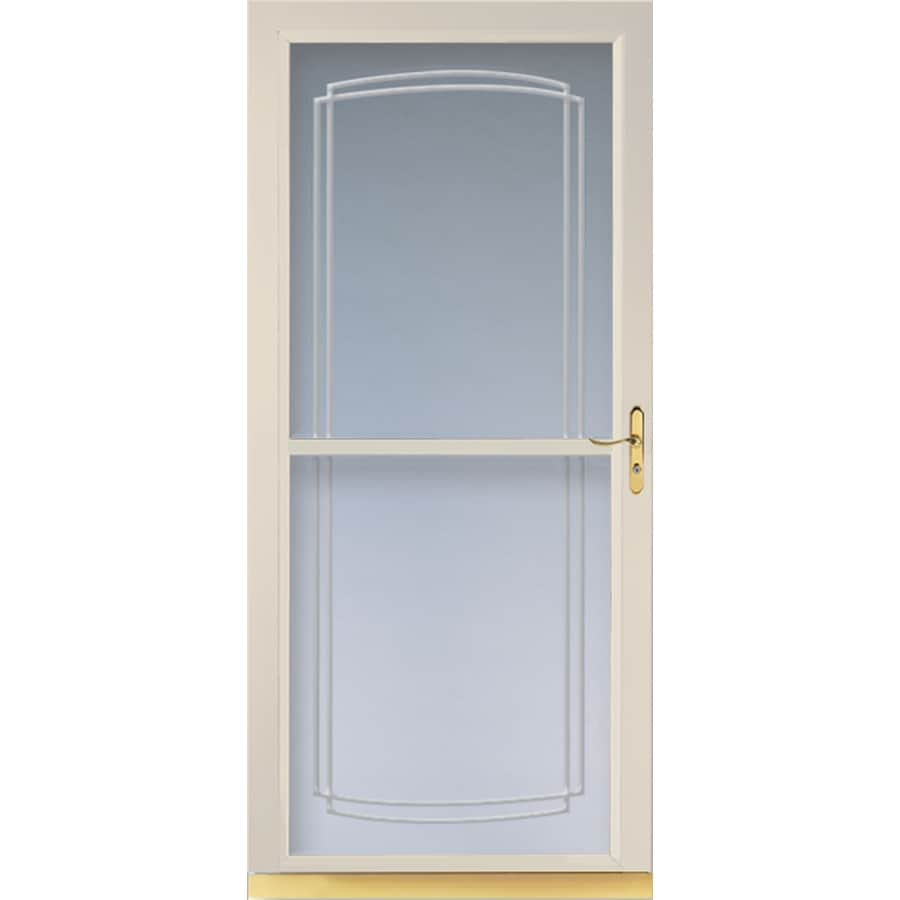Shop larson tradewinds almond full view tempered glass for Retractable glass doors