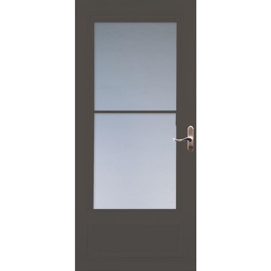 LARSON Savannah Brown Mid-View Tempered Glass Wood Core Retractable Screen Storm Door (Common: 36-in x 81-in; Actual: 35.75-in x 79.875-in)