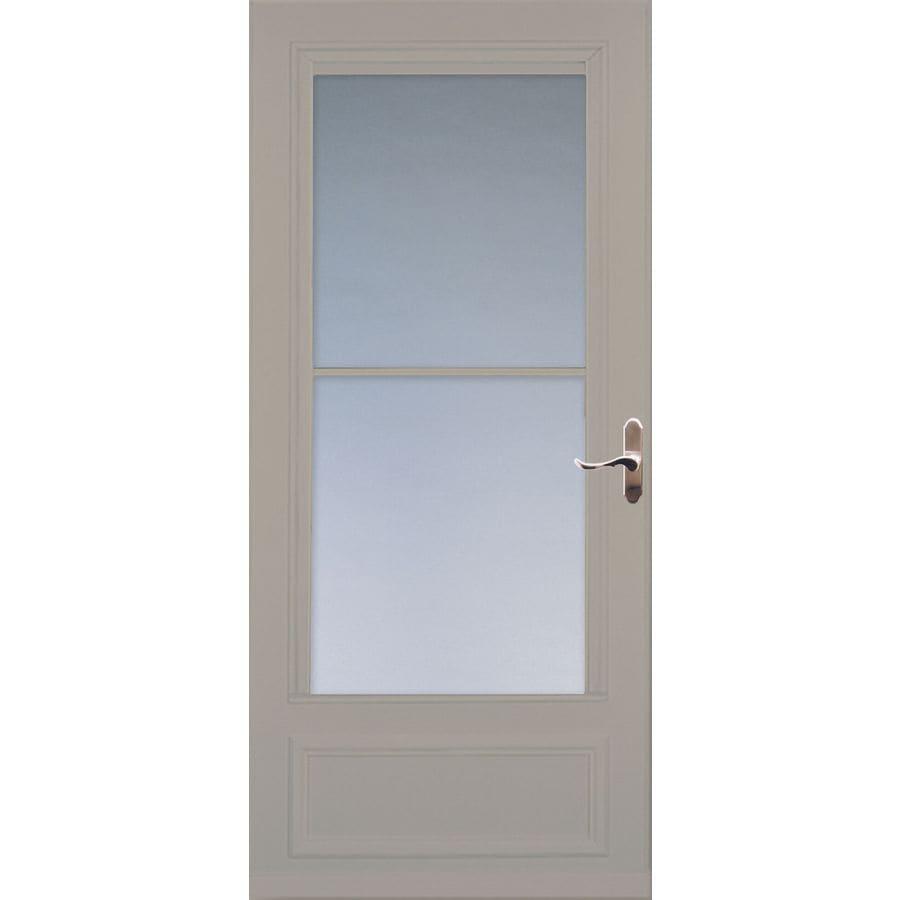 LARSON Savannah Sandstone Mid-View Tempered Glass Wood Core Retractable Screen Storm Door (Common: 32-in x 81-in; Actual: 31.75-in x 79.875-in)