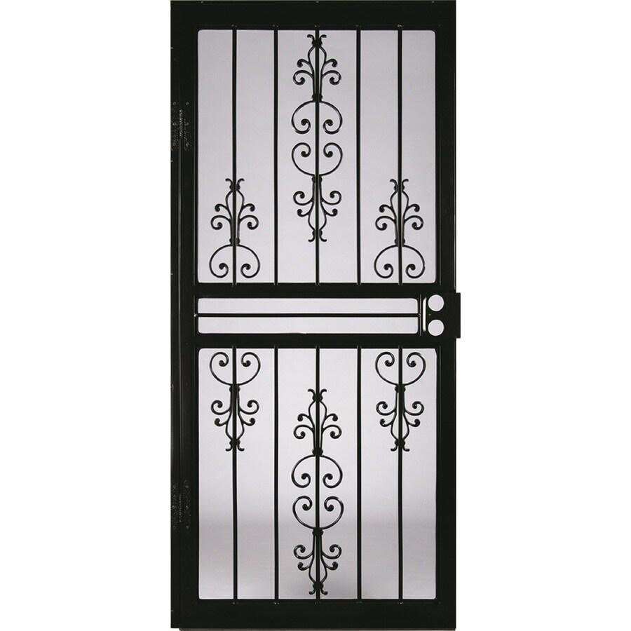 LARSON Garden View Black Steel Security Door (Common: 34-in x 81-in; Actual: 33.75-in x 79.75-in)