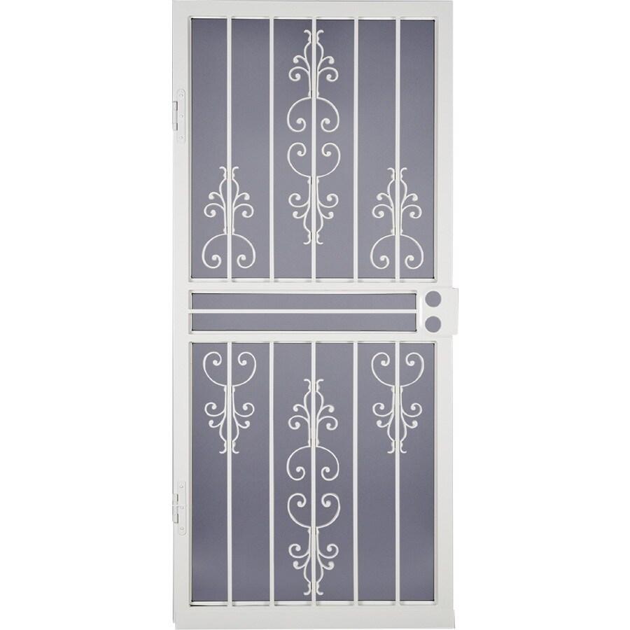 LARSON Garden View White Steel Security Door (Common: 36-in x 81-in; Actual: 35.75-in x 79.75-in)