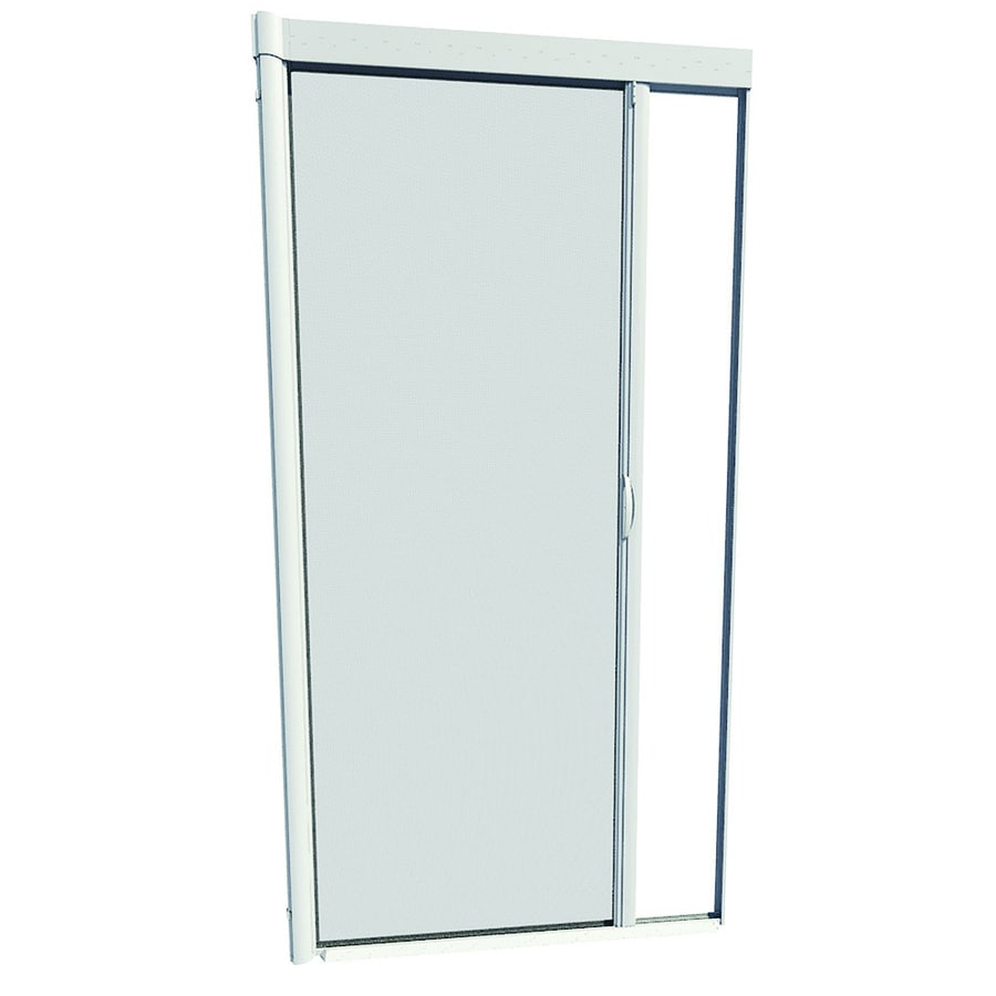 Shop larson 48 in x 91 in white retractable screen door at for Disappearing screen doors lowes