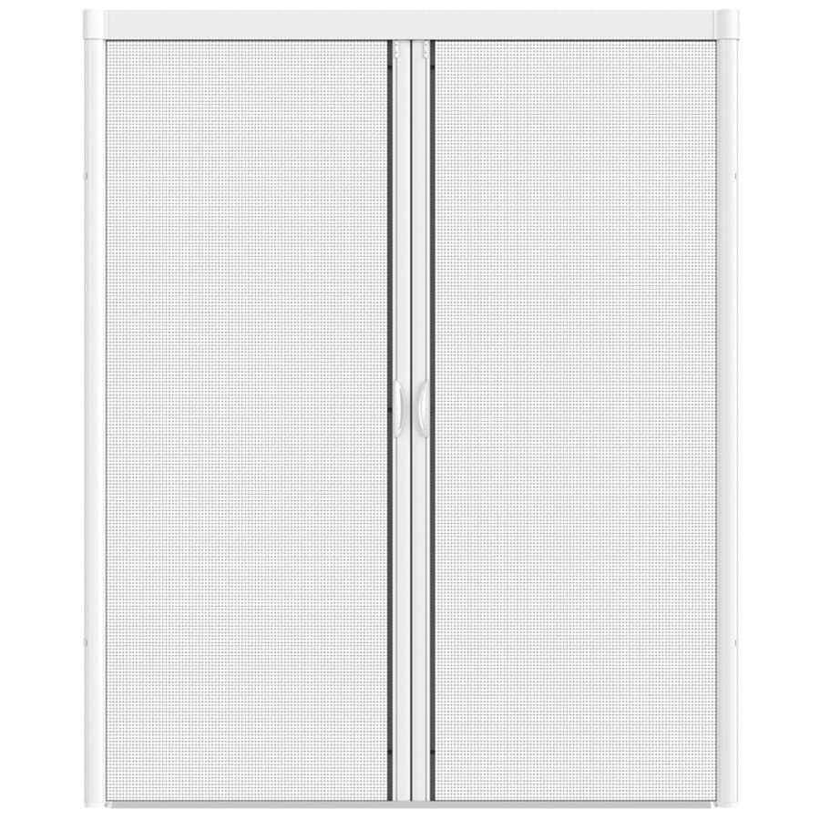Shop larson 84 in x 79 in white retractable screen door at for Retractable screen door