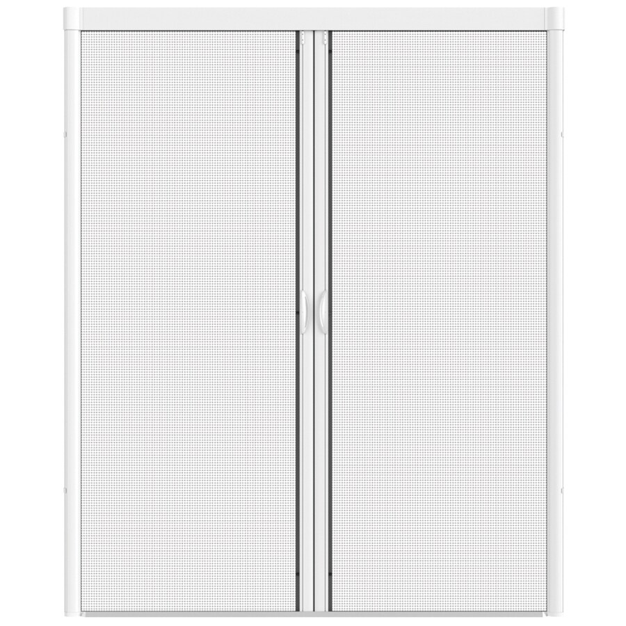 Shop larson 96 in x 91 in white retractable screen door at for Disappearing sliding doors