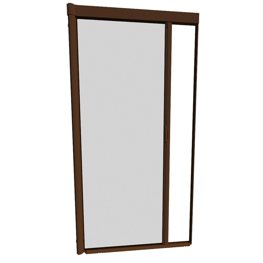 Shop larson 39 in x 79 in brownstone retractable screen for Disappearing screen doors lowes