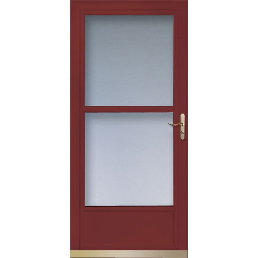 Shop larson tradewinds cranberry mid view tempered glass for Retractable glass doors