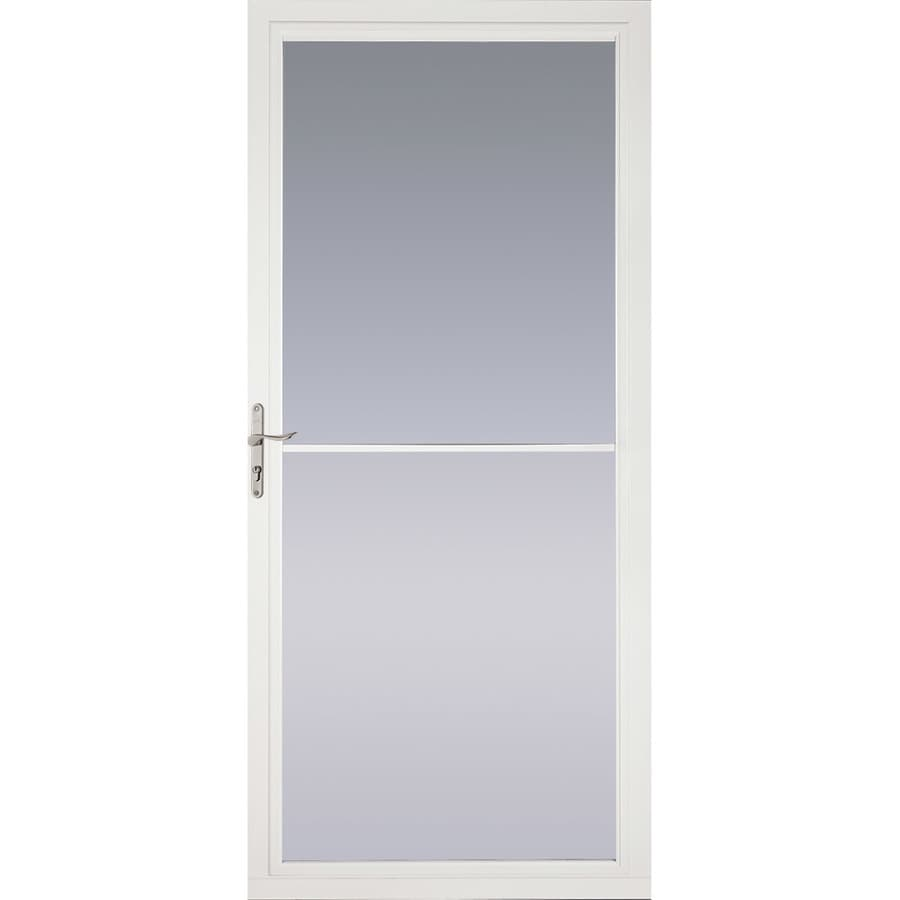 Pella Montgomery White Full-View Tempered Glass Aluminum Retractable Screen Storm Door (Common: 32-in x 81-in; Actual: 31.75-in x 79.875-in)