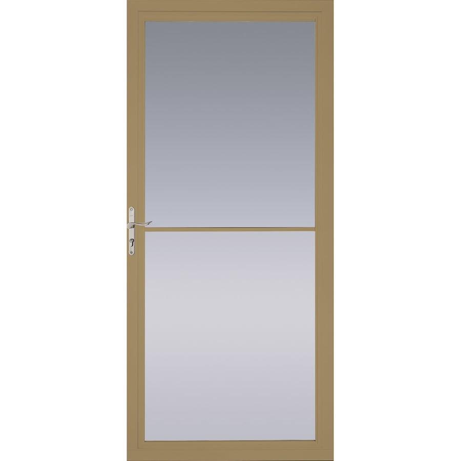 Pella Montgomery Putty Full-View Safety Aluminum Retractable Screen Storm Door (Common: 32-in x 81-in; Actual: 31.75-in x 79.875-in)