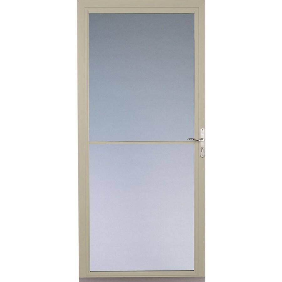 Pella Montgomery Poplar White Full-View Safety Aluminum Retractable Screen Storm Door (Common: 32-in x 81-in; Actual: 31.75-in x 79.875-in)