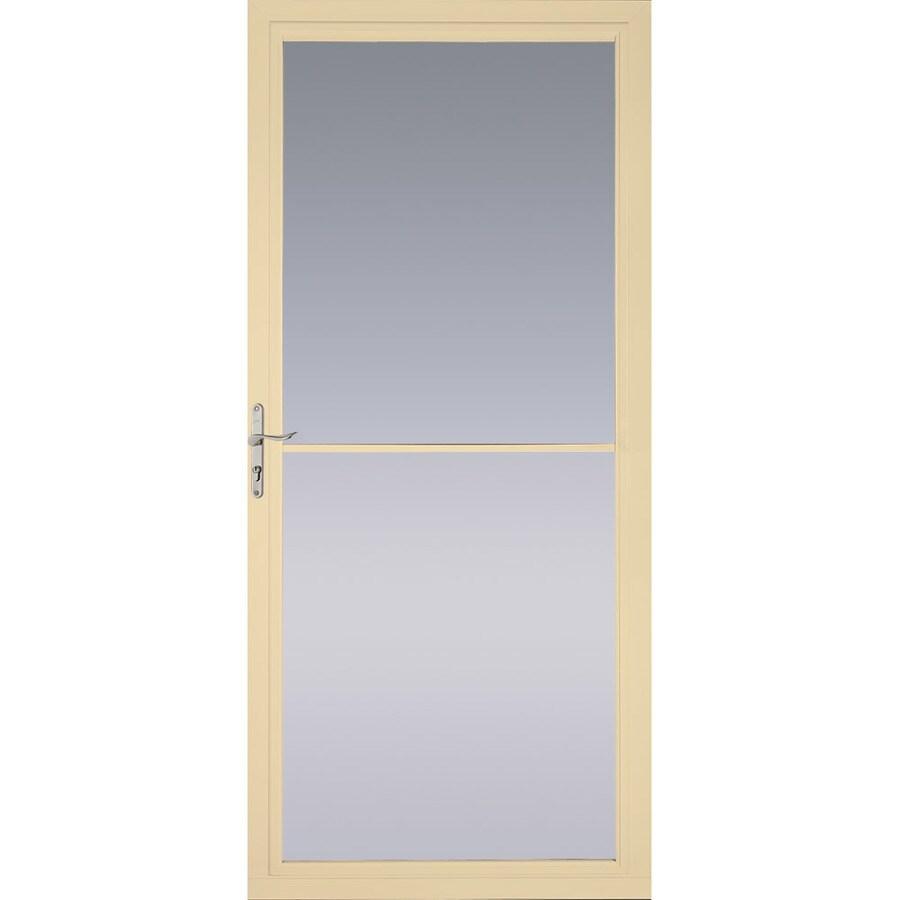 Pella Montgomery Poplar White Full-View Safety Aluminum Retractable Screen Storm Door (Common: 36-in x 81-in; Actual: 35.75-in x 79.875-in)