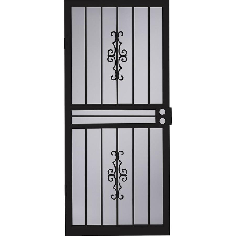 LARSON Courtyard Black Steel Security Door (Common: 34-in x 81-in; Actual: 33.75-in x 79.75-in)