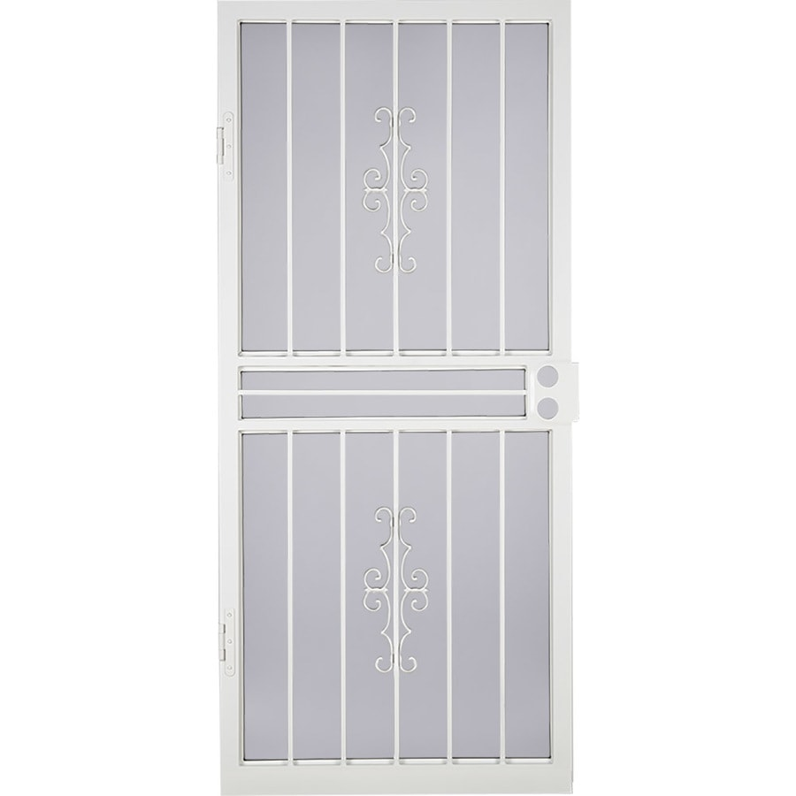 LARSON Courtyard White Steel Security Door (Common: 32-in x 81-in; Actual: 31.75-in x 79.75-in)