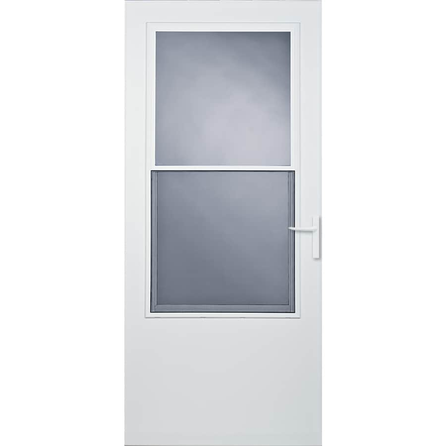 Shop larson athens white mid view tempered glass wood core for White storm door