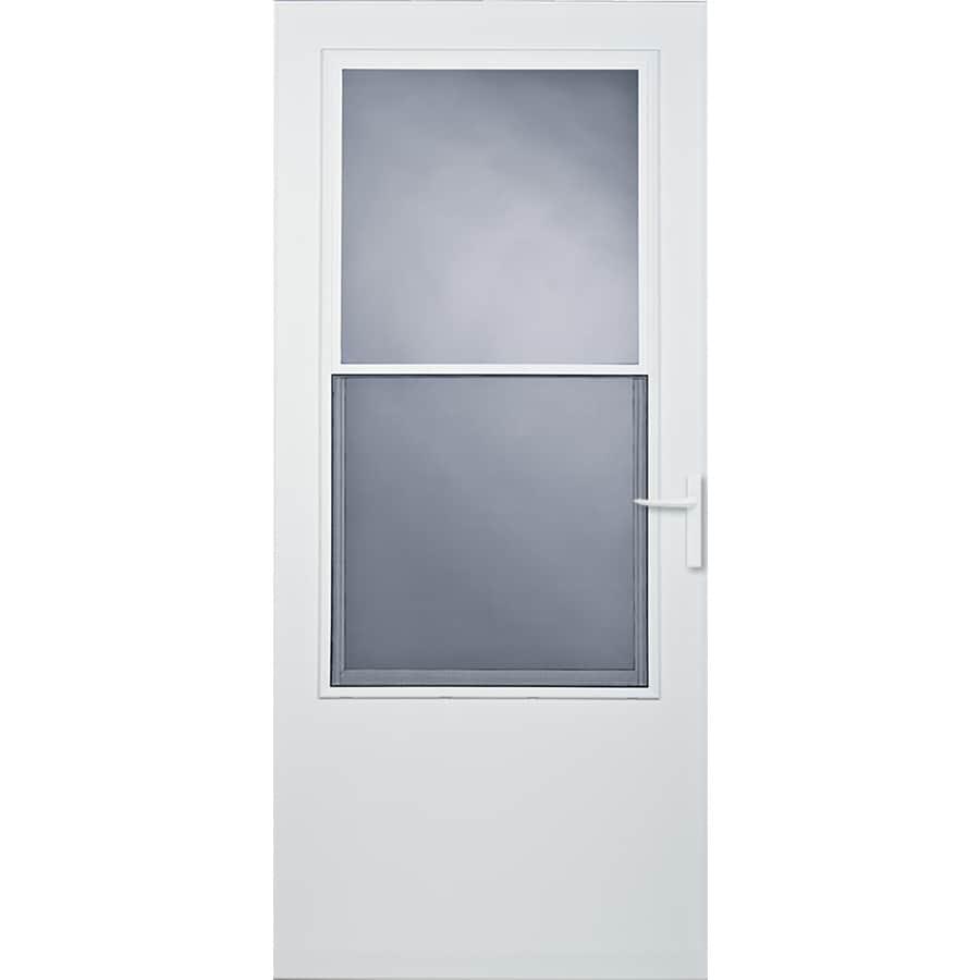 Comfort-Bilt Athens White Mid-View Tempered Glass Standard Half Screen Storm Door (Common: 36-in x 81-in; Actual: 35.75-in x 79.875-in)