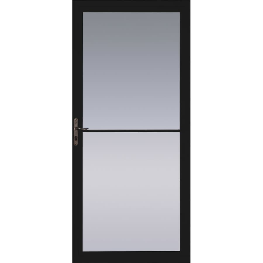 Pella Black Full-View Tempered Glass Aluminum Retractable Screen Storm Door (Common: 32-in x 81-in; Actual: 31.75-in x 79.875-in)
