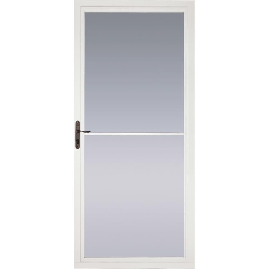 Pella White Full-View Tempered Glass Aluminum Retractable Screen Storm Door (Common: 36-in x 81-in; Actual: 35.75-in x 79.875-in)