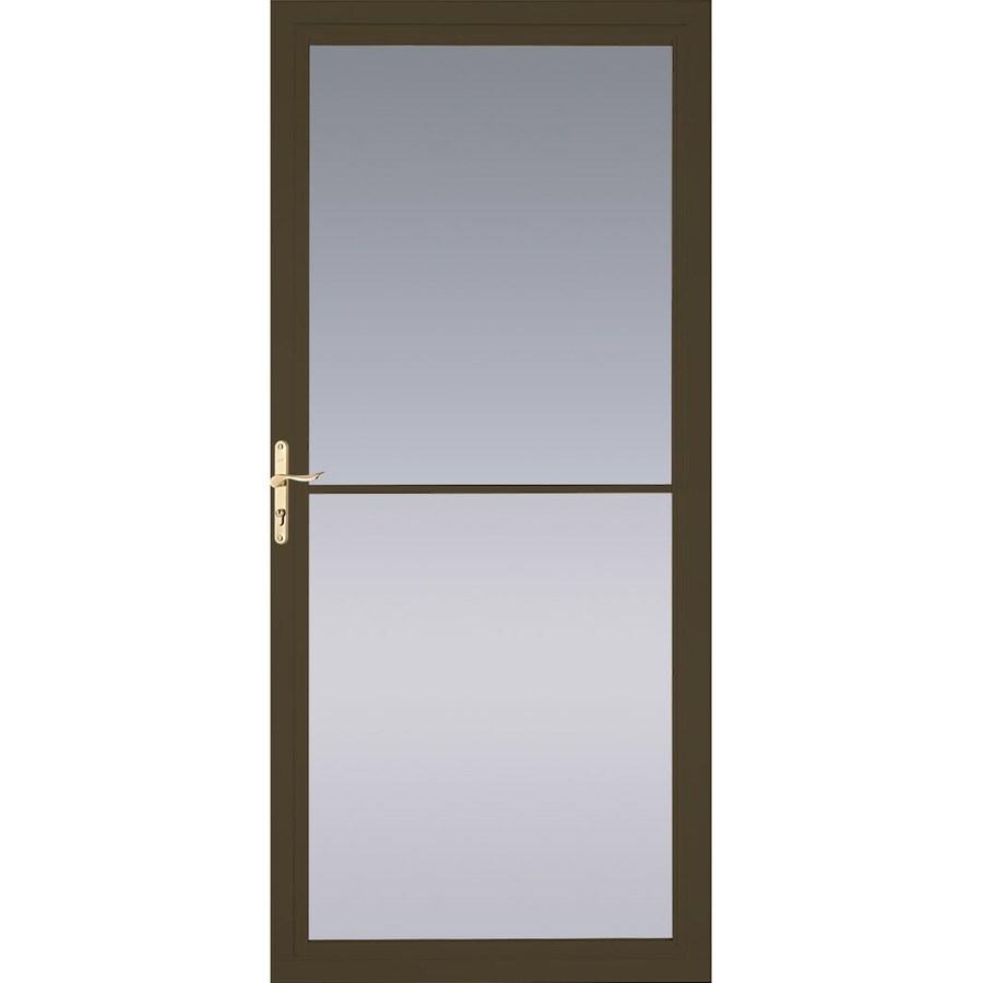 Pella Brown Full-View Tempered Glass Aluminum Retractable Screen Storm Door (Common: 36-in x 81-in; Actual: 35.75-in x 79.875-in)