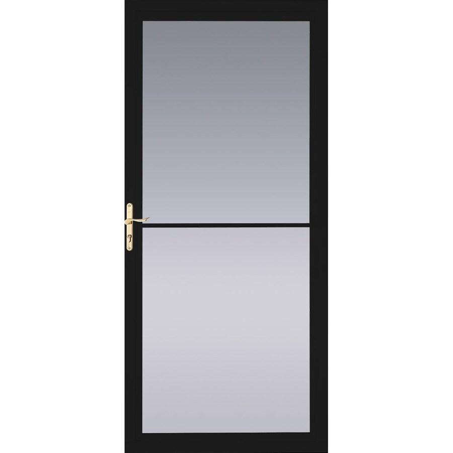 Shop pella black full view tempered glass retractable for Retractable screen door reviews