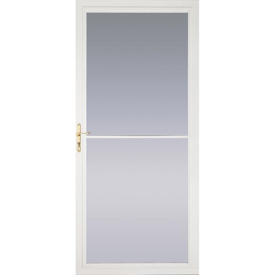 Pella White Full-View Tempered Glass Aluminum Retractable Screen Storm Door (Common: 32-in x 81-in; Actual: 31.75-in x 79.875-in)