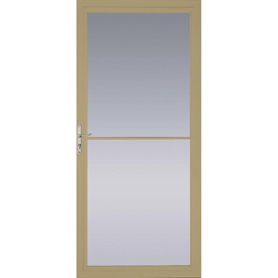 Pella Tan Full-View Tempered Glass Aluminum Retractable Screen Storm Door (Common: 32-in x 81-in; Actual: 31.75-in x 79.875-in)