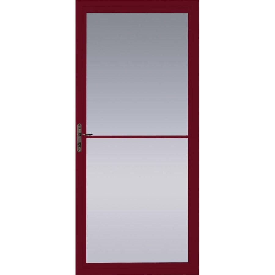Pella Cranberry Full-View Tempered Glass Aluminum Retractable Screen Storm Door (Common: 32-in x 81-in; Actual: 31.75-in x 79.875-in)